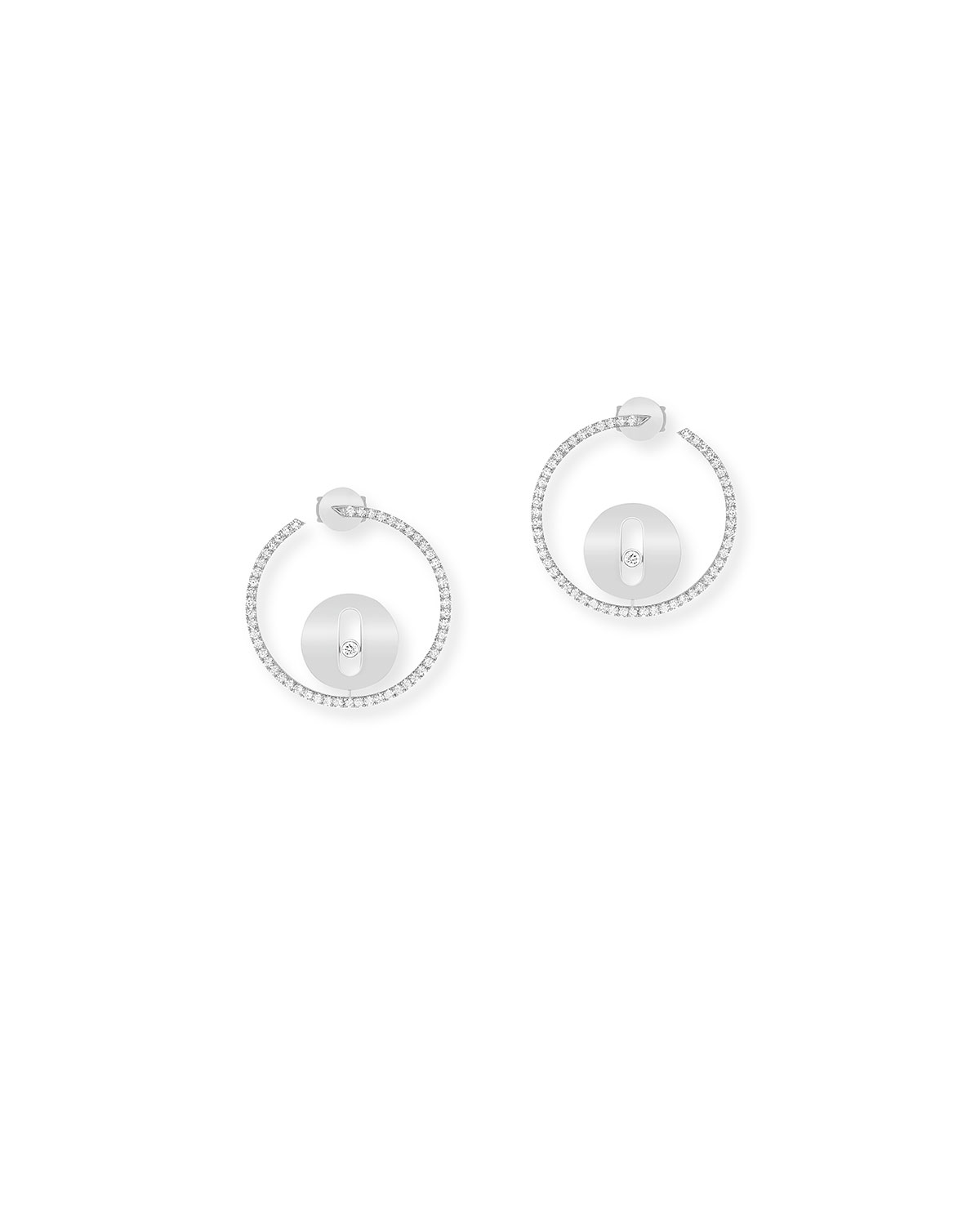 Lucky Move PM Diamond Earrings in White Gold