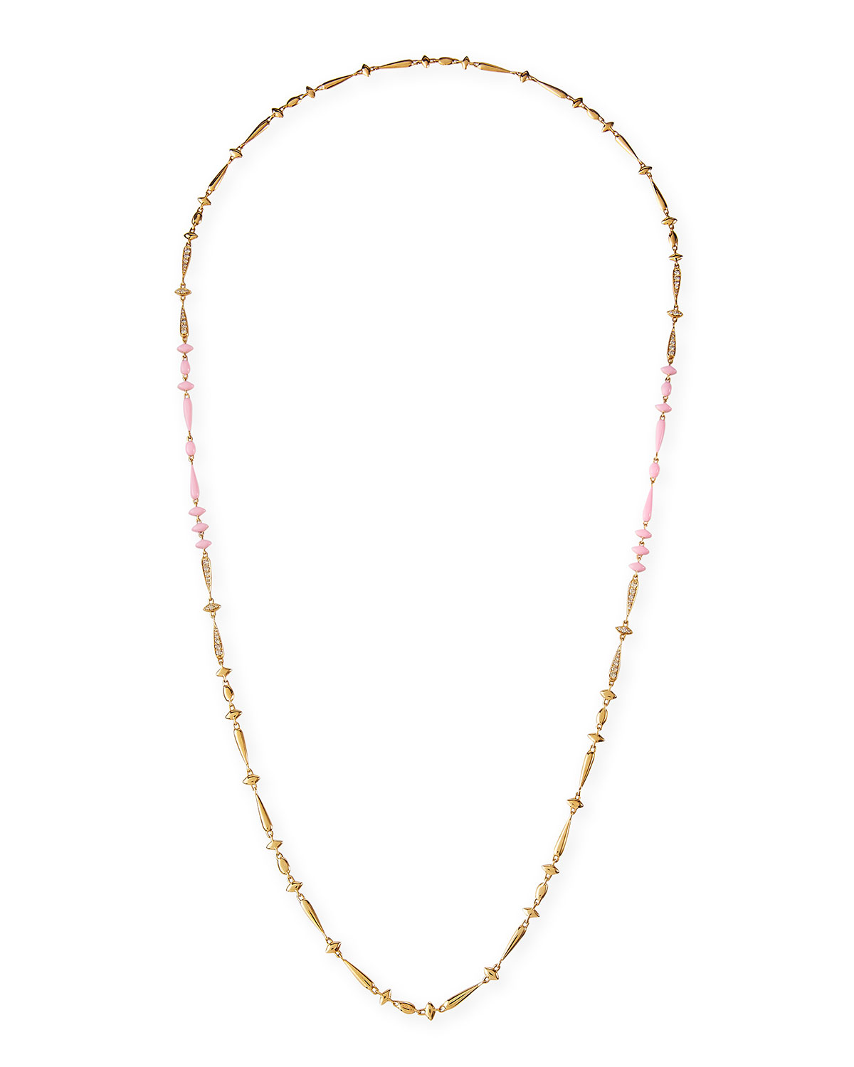 Brown Diamond and Pink Ceramic Necklace