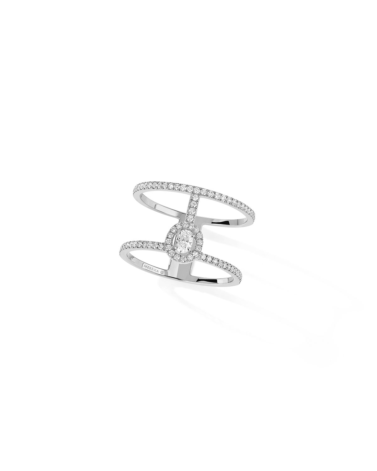 Glam'Azone 2-Row Pave Ring in 18k White Gold