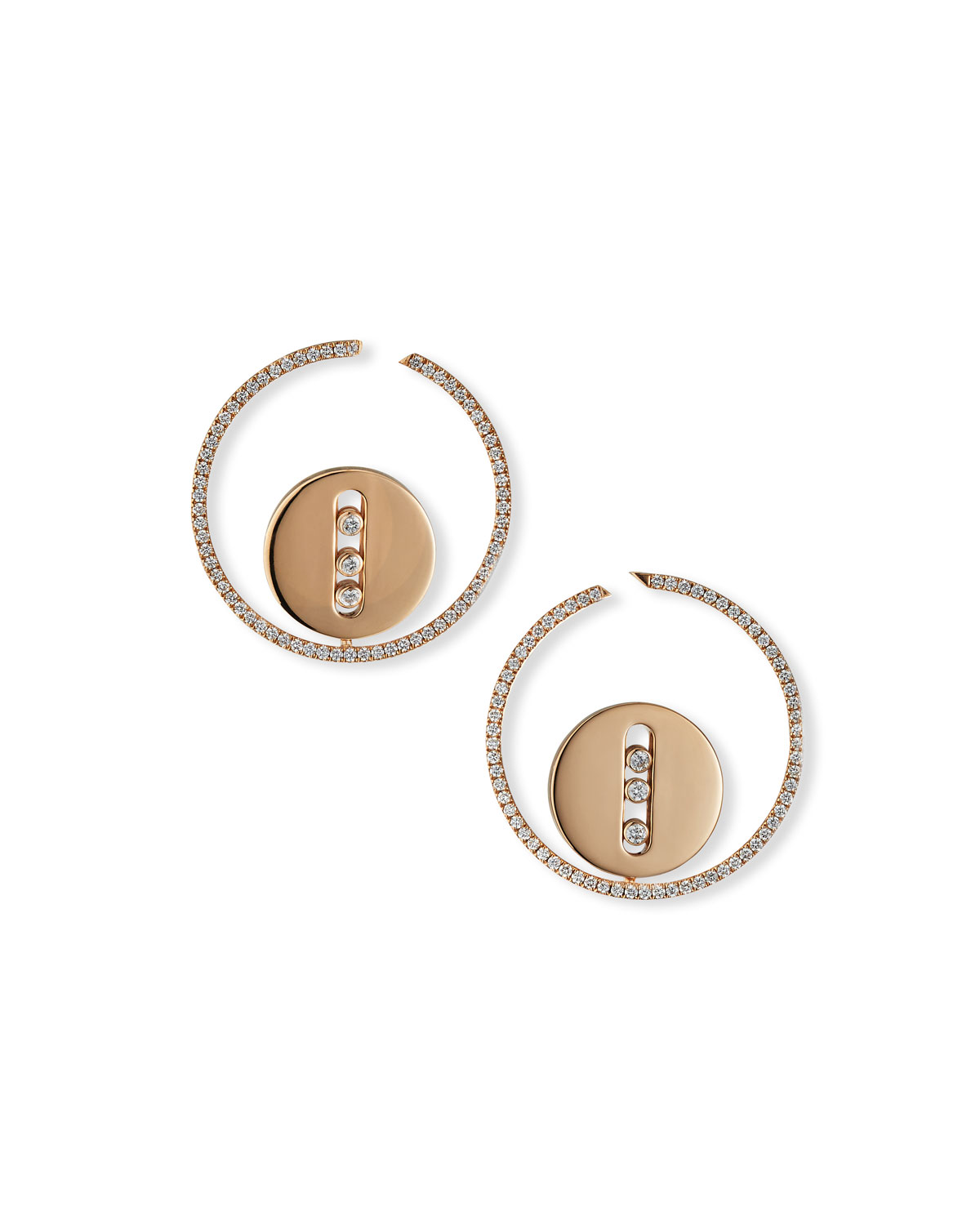 Lucky Move Hoop Earrings in Pink Gold