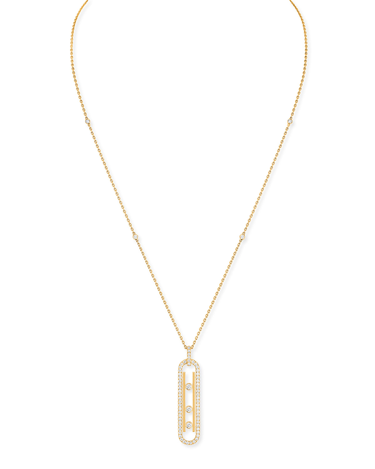 Move Small Pave Necklace with Diamonds in Yellow Gold