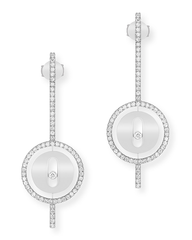 Lucky Move 18k White Gold Arrow Diamond Earrings