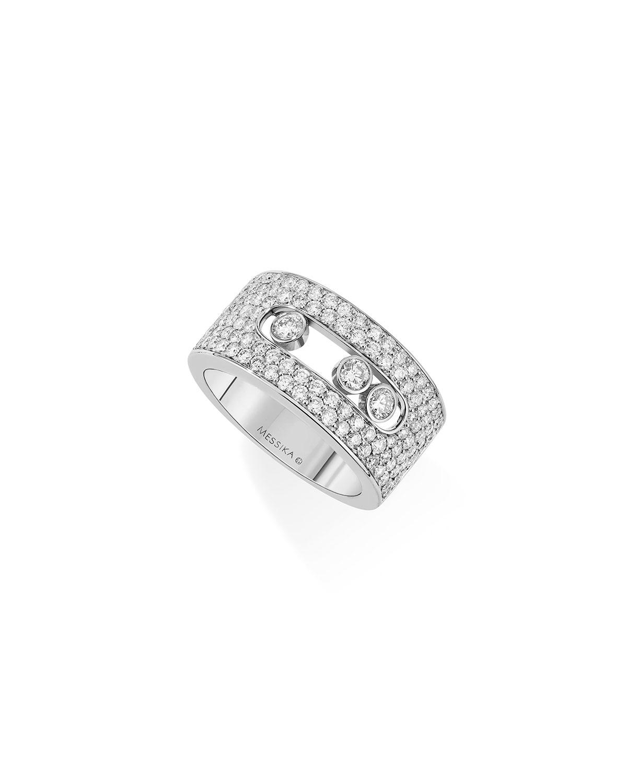 Move Medium 18k White Gold Pave Diamond Ring