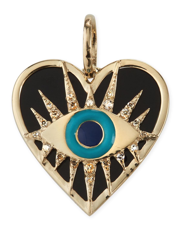 Evil Eye Black Onyx Amulet with Diamonds