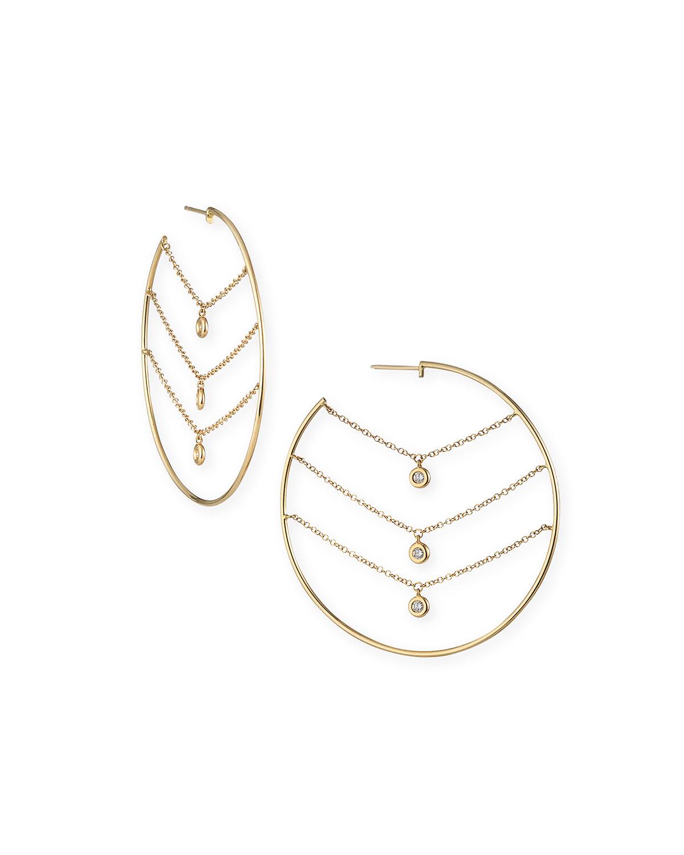 Siren 14k Gold Three-Row Chain Diamond Hoop Earrings