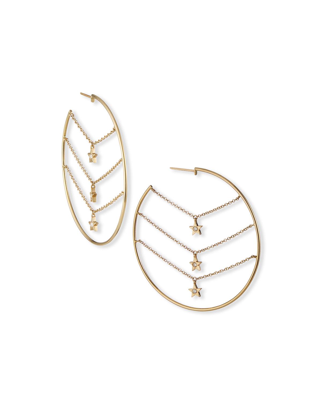 Siren 3-Star Dangle Hoop Earrings