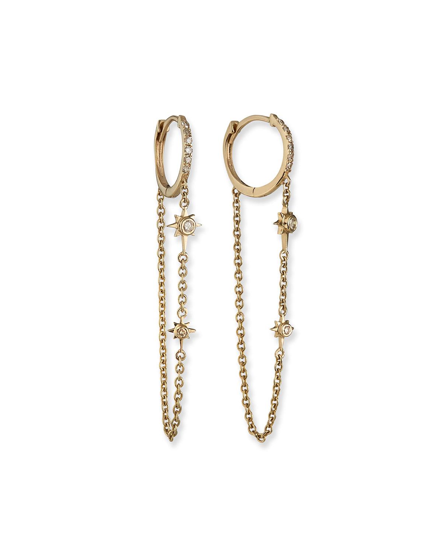 Muse Star 14k Gold Diamond Dangle Earrings