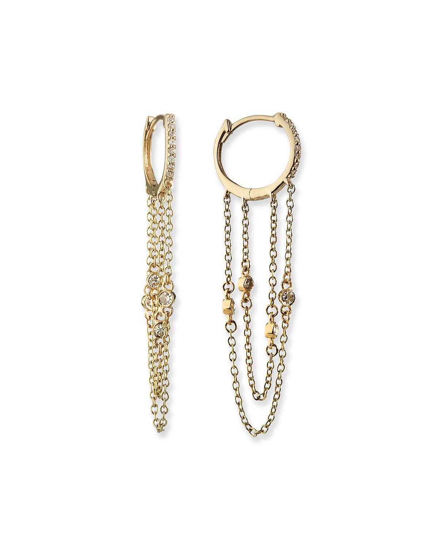 14k Siren Diamond Fringe Huggie Earrings