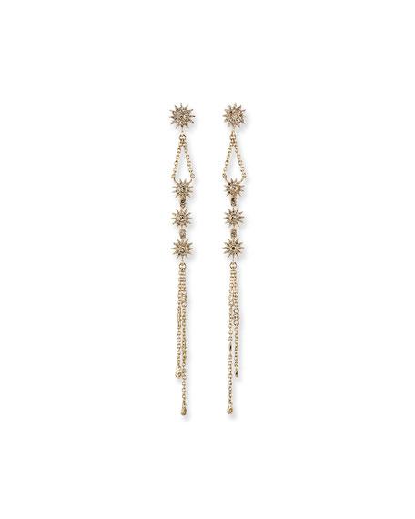 Kastel Jewelry Siren 14k Gold Fringe Duster Star Earrings
