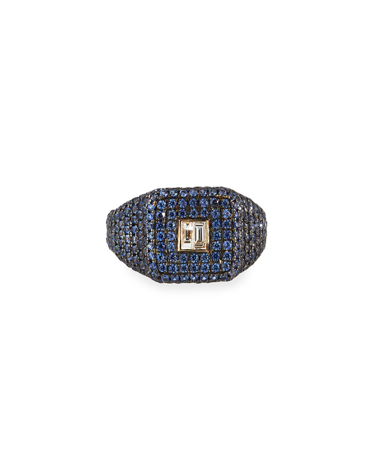 14k Uptown Blue Sapphire Pinky Ring