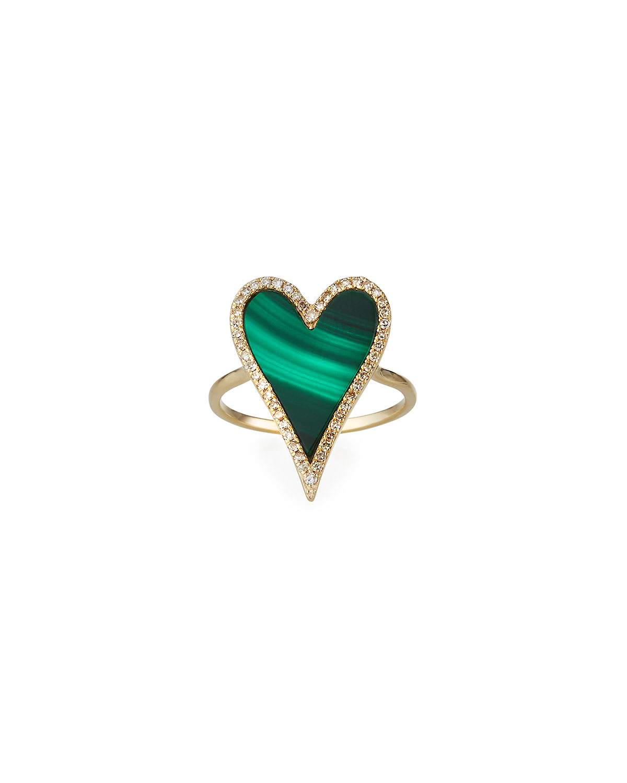 Muse Malachite Heart Ring with Diamonds