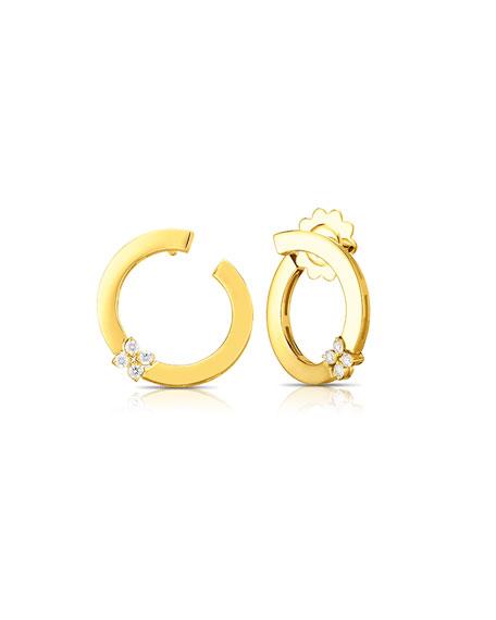 Roberto Coin Love in Verona 18k Yellow Gold Diamond Hoop Stud Earrings