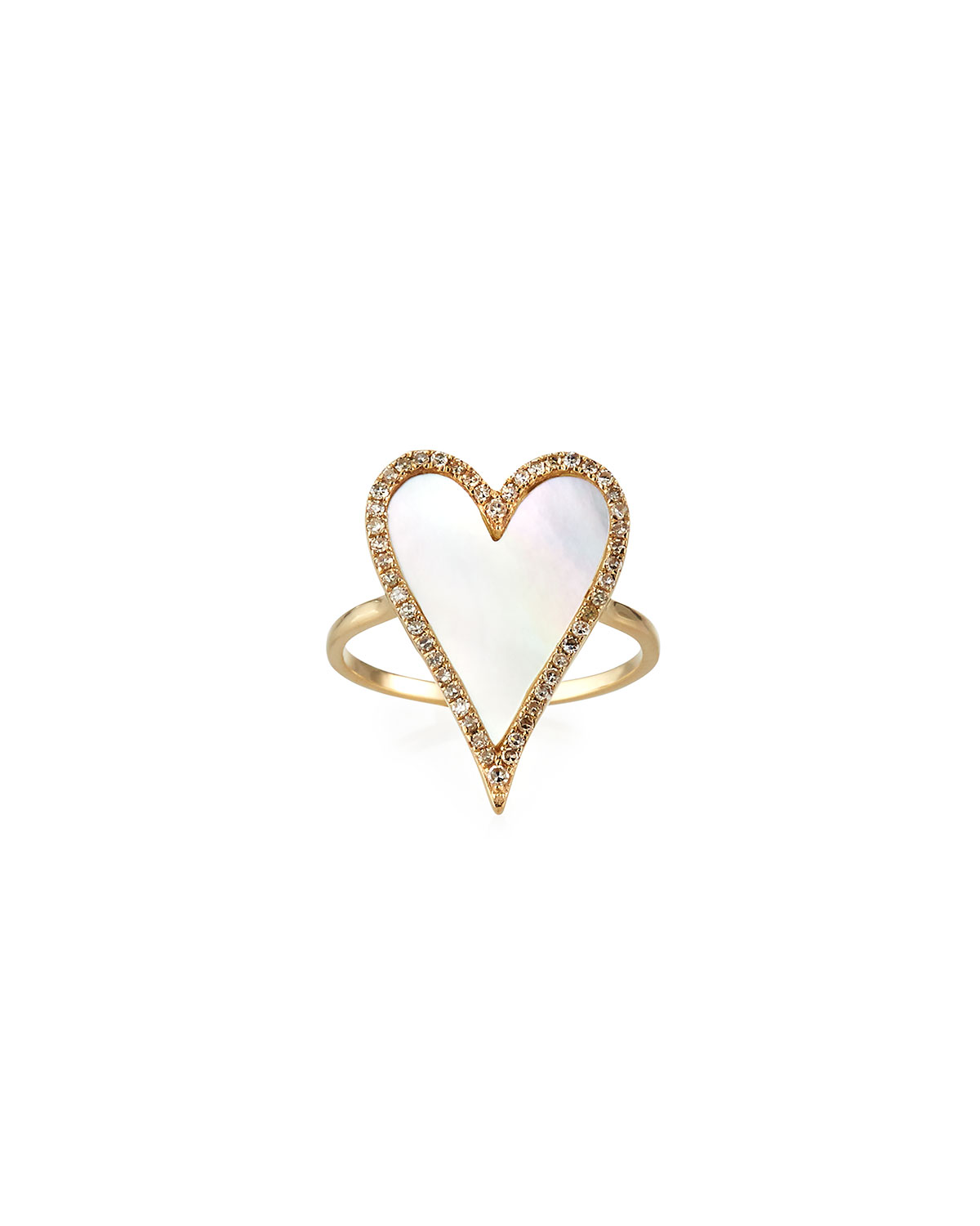 Muse Mother-of-Pearl Heart Ring with Diamonds