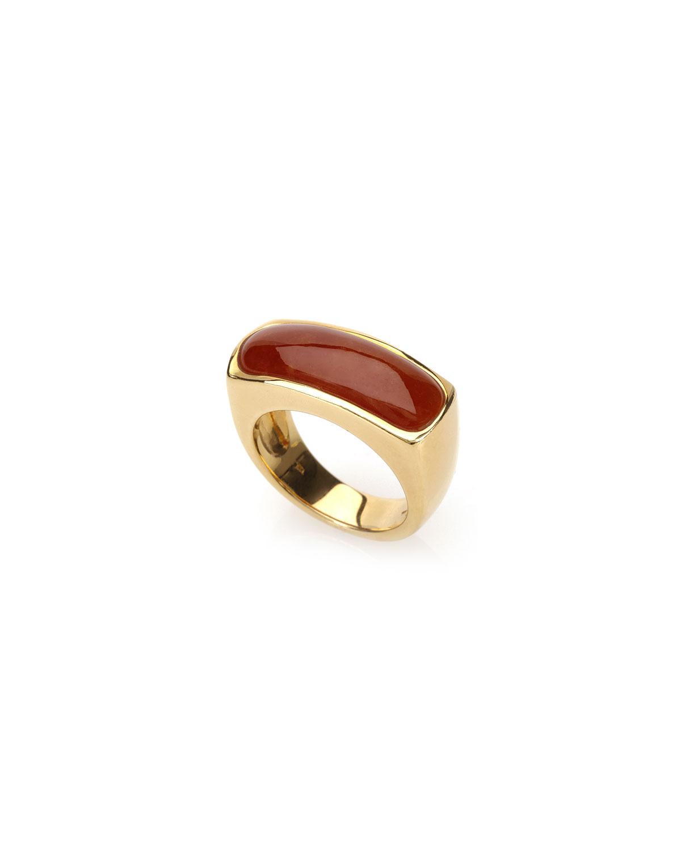 18k Yellow Gold Red Jadeite Saddle Ring