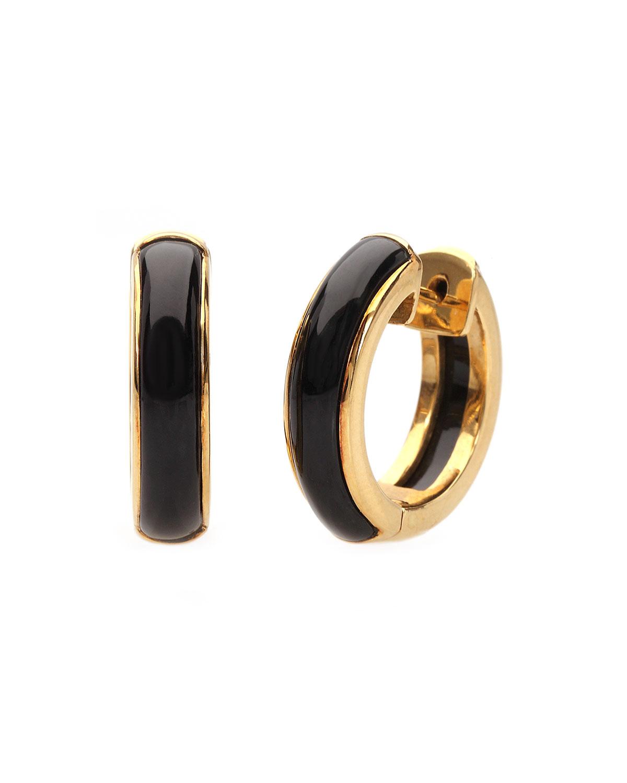 18k Yellow Gold Black Jade Hoop Earrings