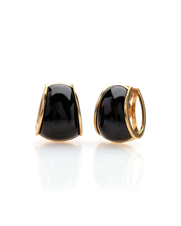 18k Yellow Gold Black Jadeite Wide Hoop Earrings