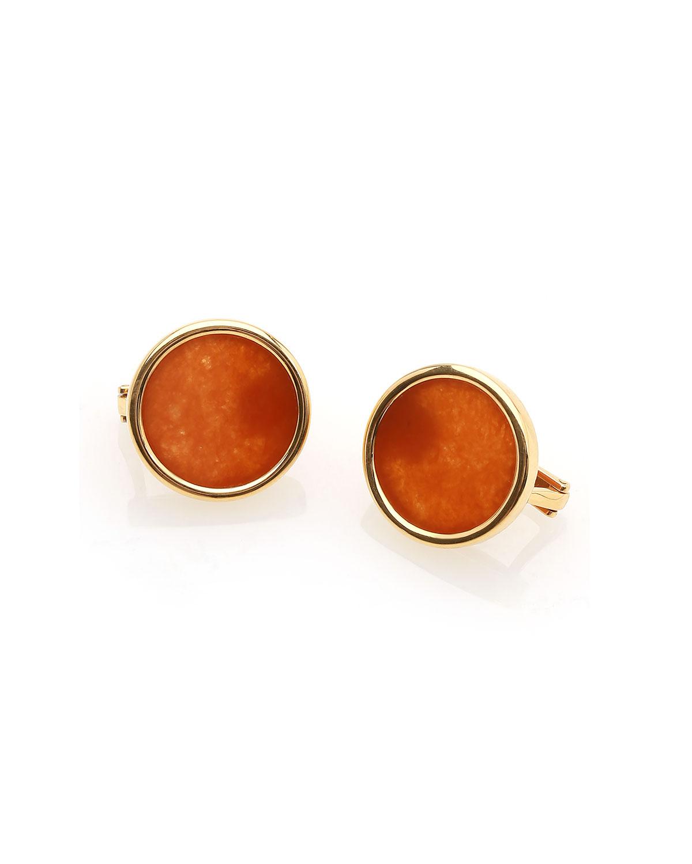 18k Flat Red Jadeite Clip Earrings
