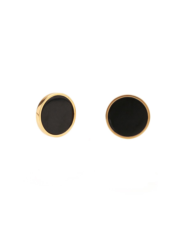 18K Gold Round Black Jade Stud Earrings