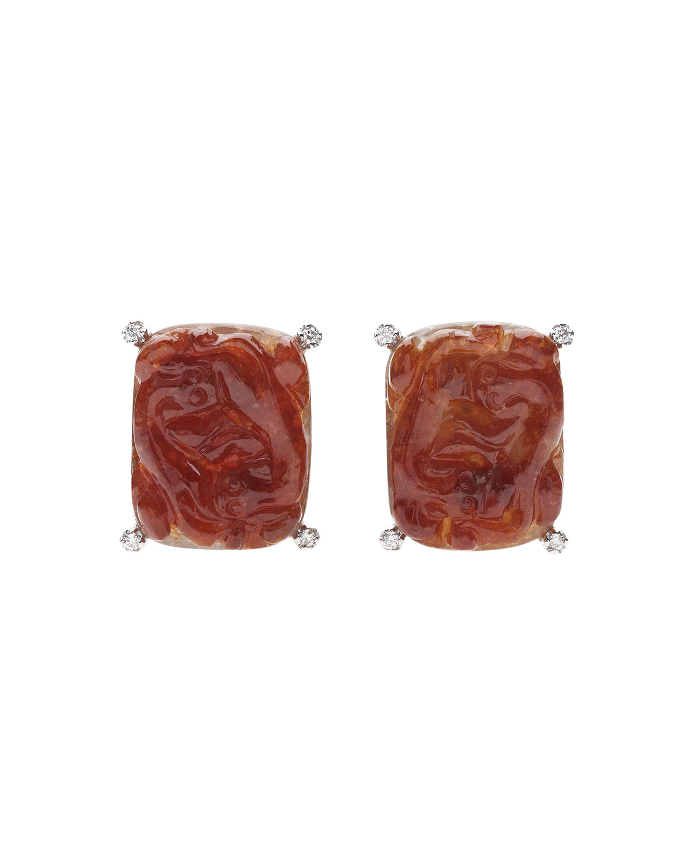 18k White Gold Diamond and Red Jadeite Dragon Earrings