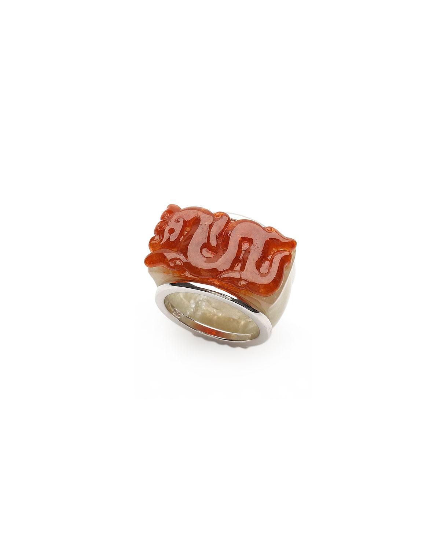 18k White Gold Red and White Jadeite Dragon Ring