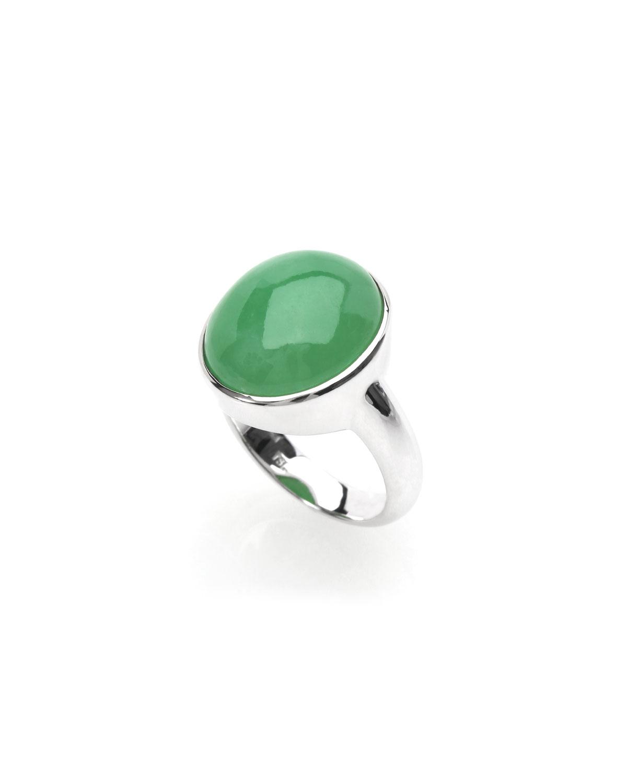 18k White Gold Green Jadeite Oval Ring