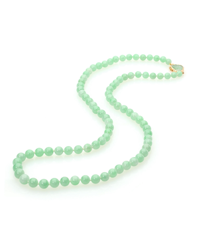 14k Green Jadeite 85-Bead Necklace