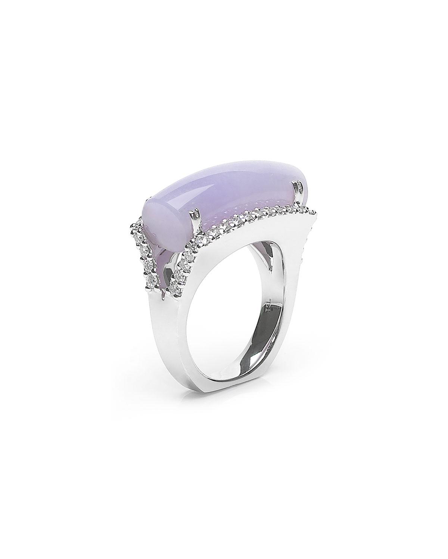 18k White Gold Diamond and Lavender Jadeite Ring