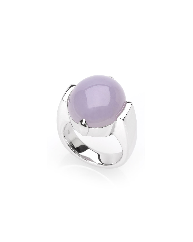 18k White Gold Lavender Jadeite Dome Ring