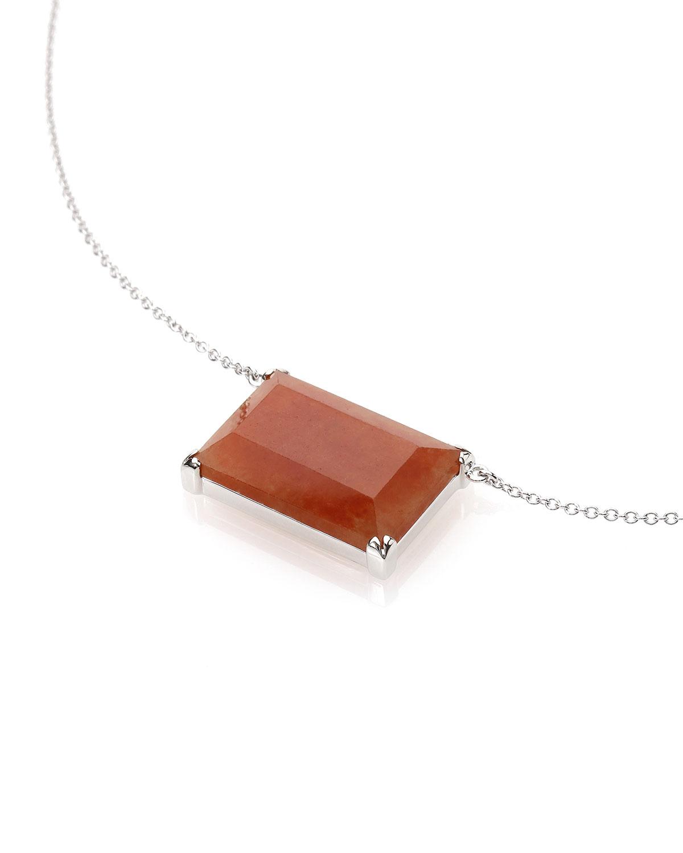 18k White Gold Red Jadeite Rectangular Pendant Necklace