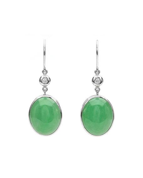 David C.A. Lin 18k White Gold Green Jadeite Drop Earrings with Diamonds