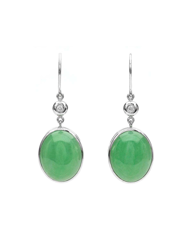18k White Gold Green Jadeite Drop Earrings with Diamonds