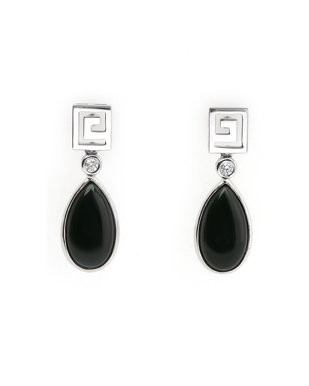 18k White Gold Burmese Black Jadeite Drop Earrings with Diamonds