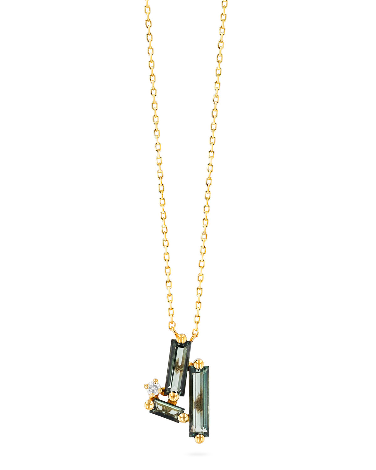 14K Yellow Gold Linear Cluster Necklace in Green Envy Topaz
