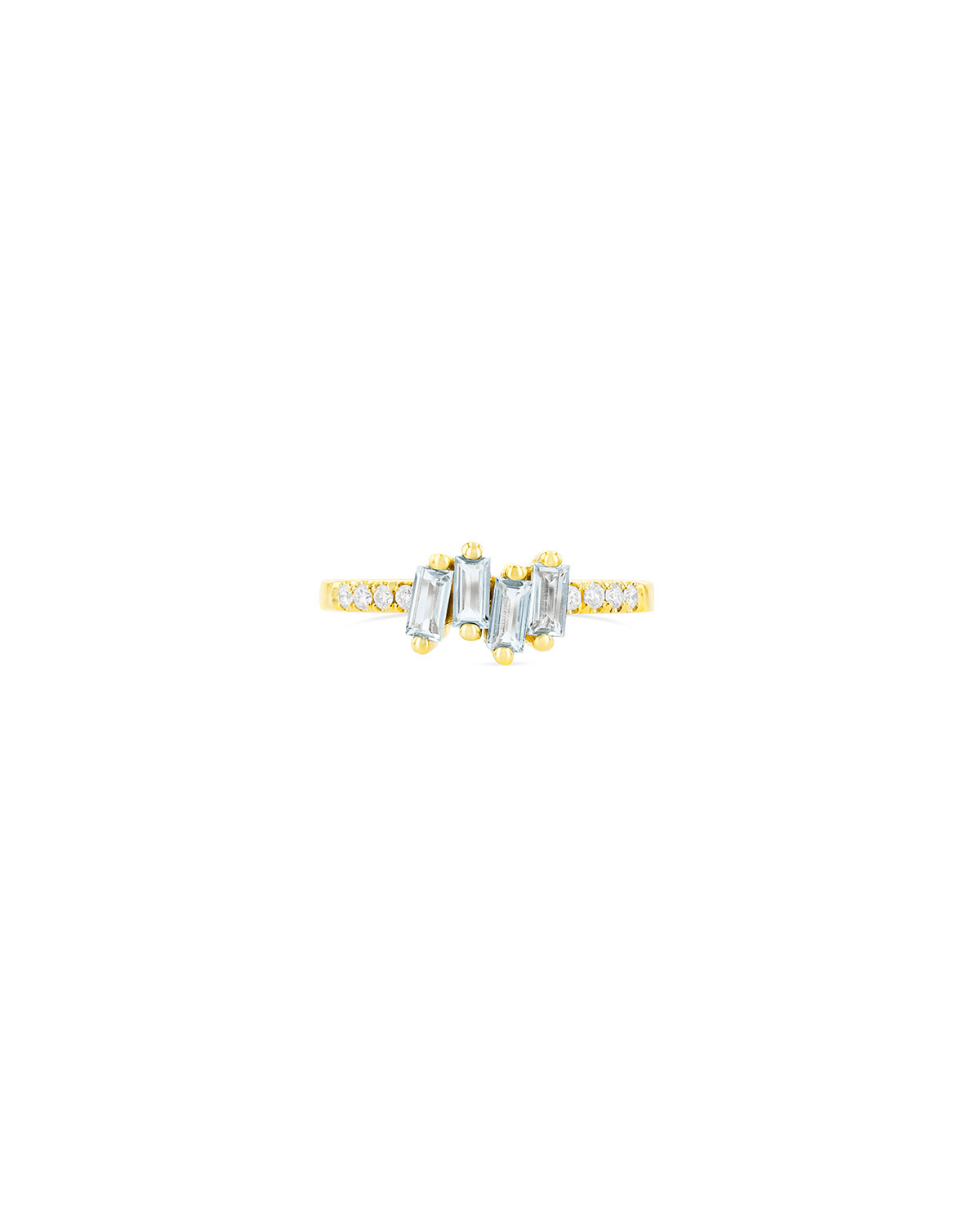 14k Yellow Gold Stacking Ring in Blue Topaz and Diamonds