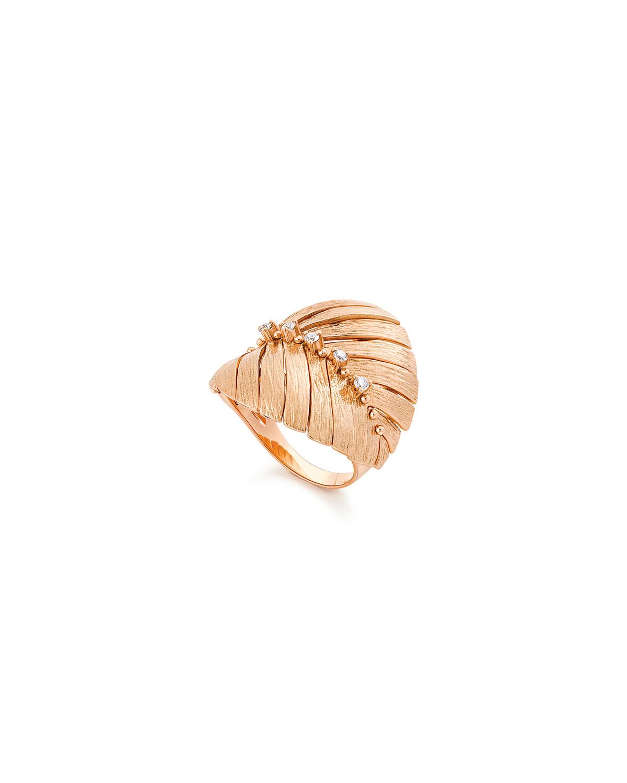 Bahia 18k Pink Gold Diamond Leaf Ring