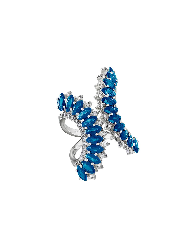 Mirage 18k White Gold Split Blue Topaz and Diamond Ring