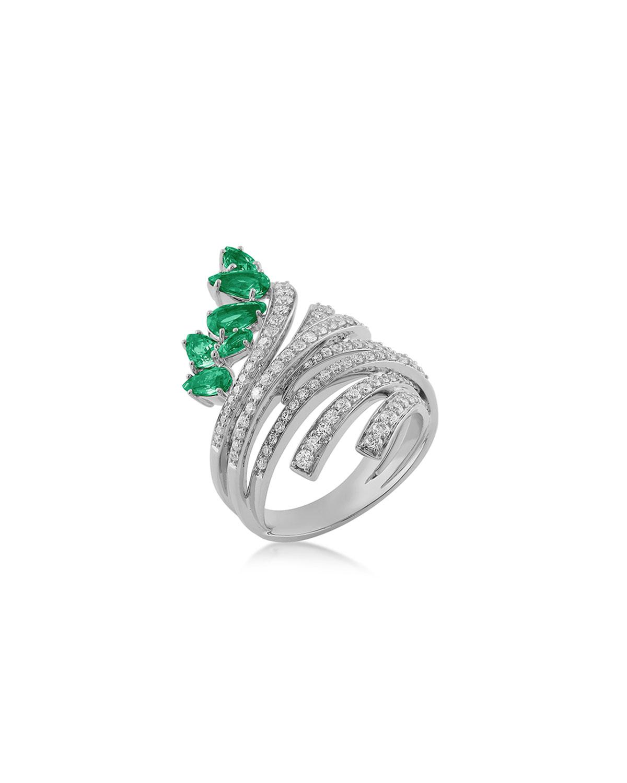 Mirage 18k White Gold Emerald and Diamond Ring