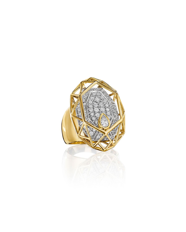 Estelar 18k Yellow Gold Diamond Caged Oval Ring