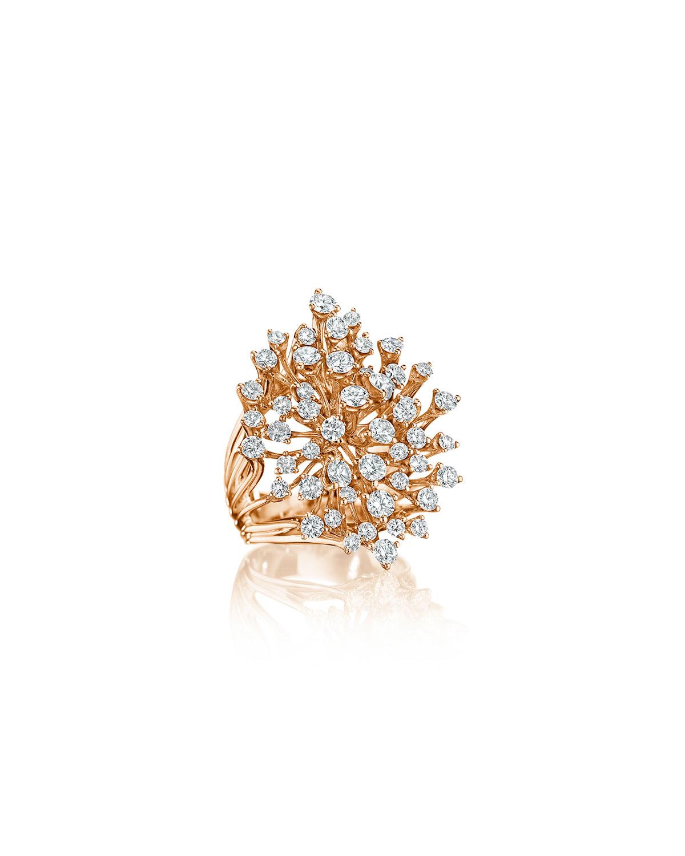 Luminus 18k Pink Gold Stemmed Multi-Diamond Ring