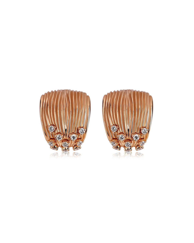 Bahia 18k Pink Gold Diamond Huggie Earrings
