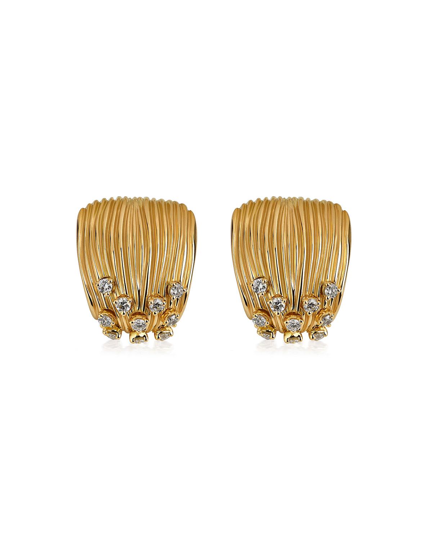 Bahia 18k Gold Diamond Huggie Earrings