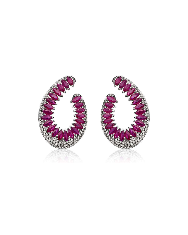 Mirage 18k White Gold Ruby and Diamond Loop Earrings