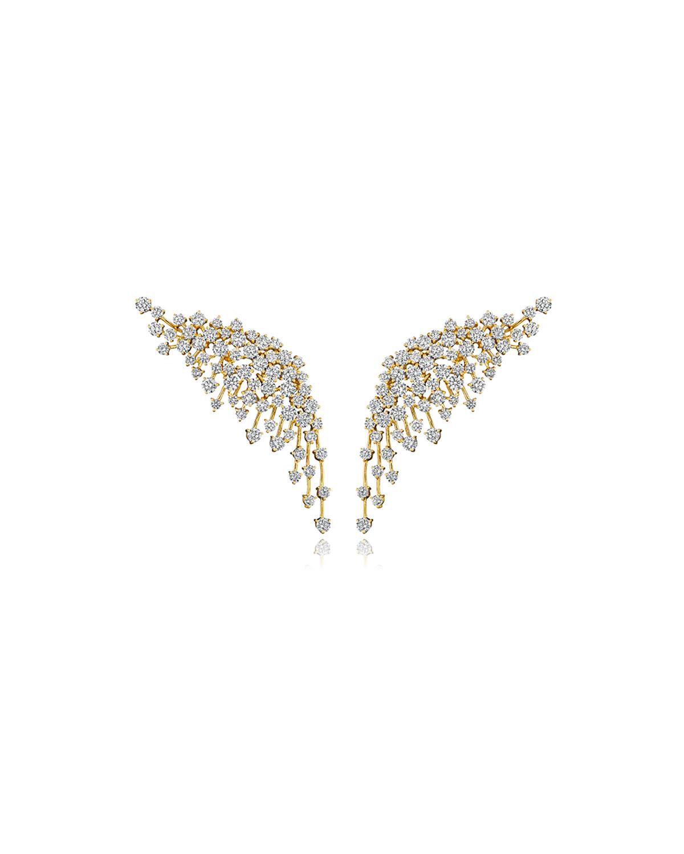 Luminus 18k Yellow Gold Diamond Wing Earrings