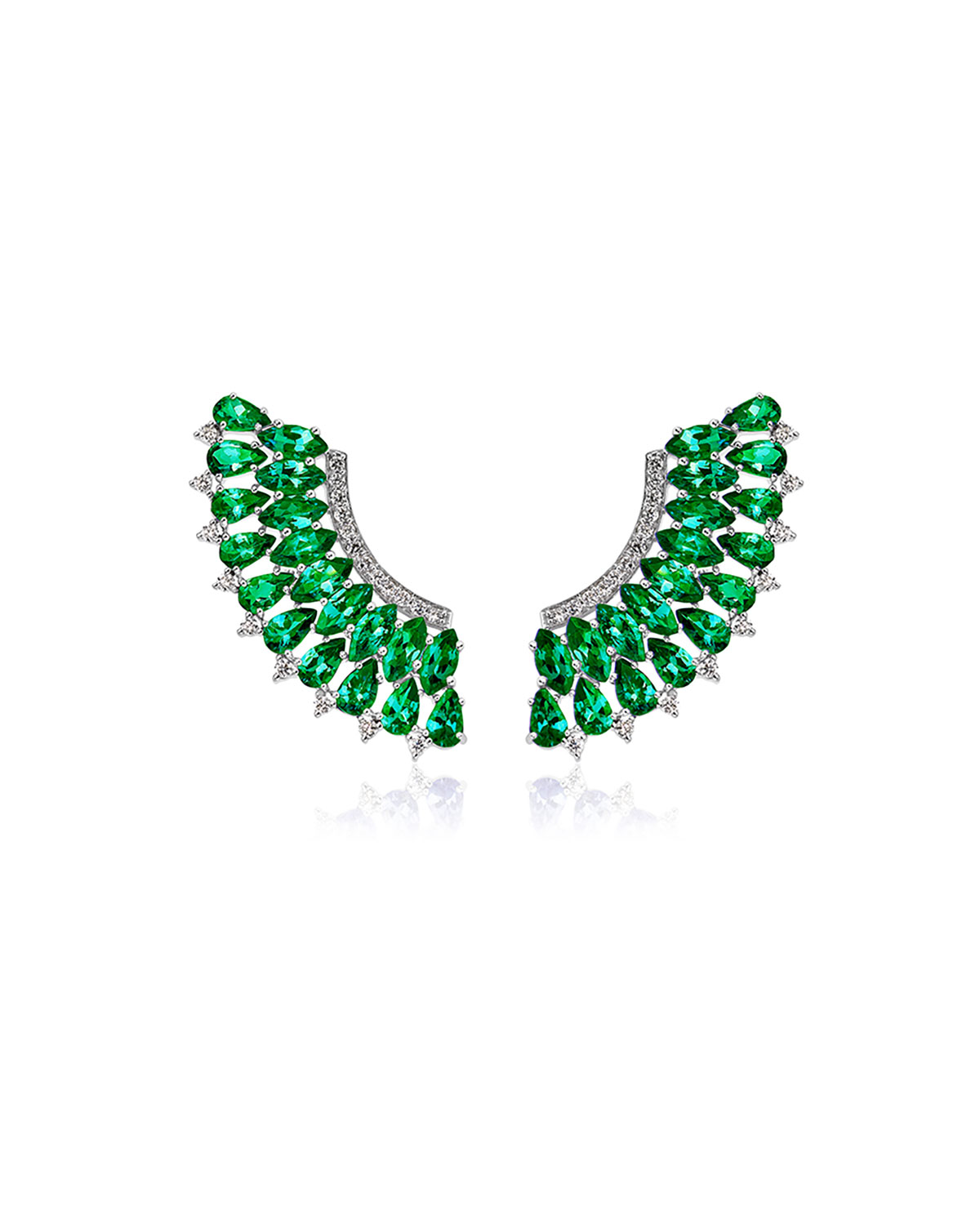 Mirage 18k White Gold Emerald and Diamond Pave Earrings