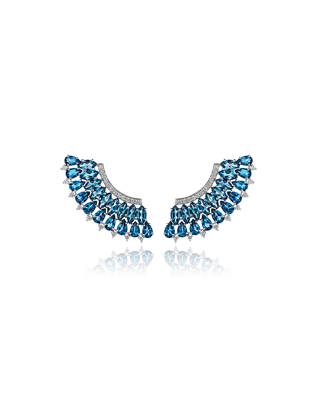 Mirage 18k White Gold Blue Topaz and Diamond Pave Earrings