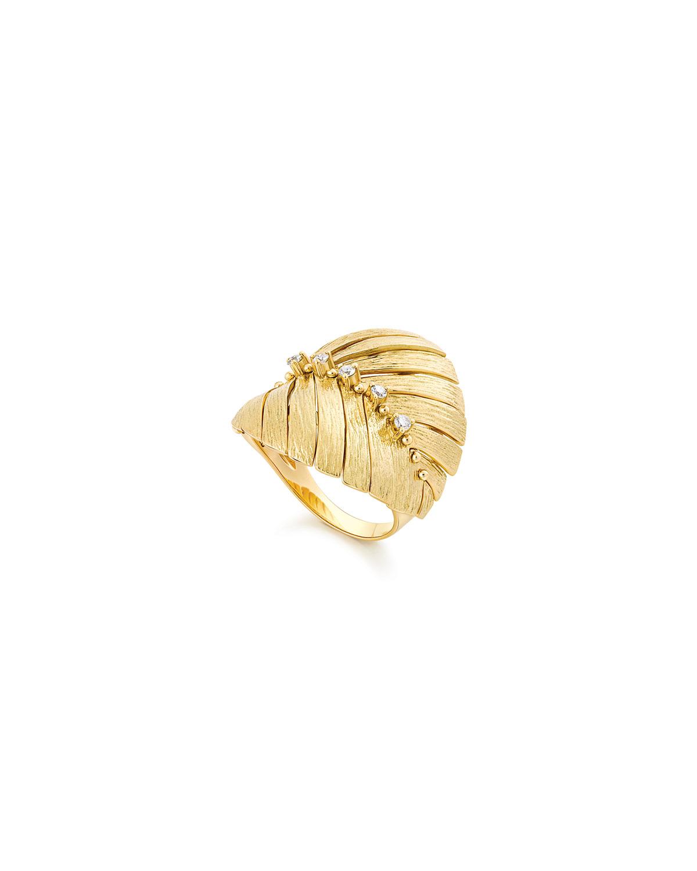 Bahia 18k Gold Diamond Leaf Ring