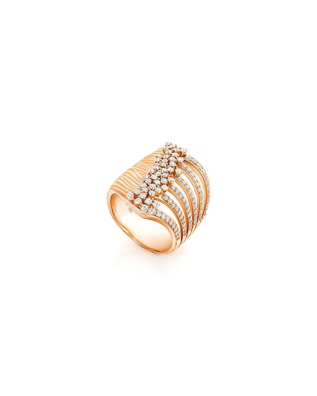 Bahia 18k Pink Gold Diamond Stacked Ring
