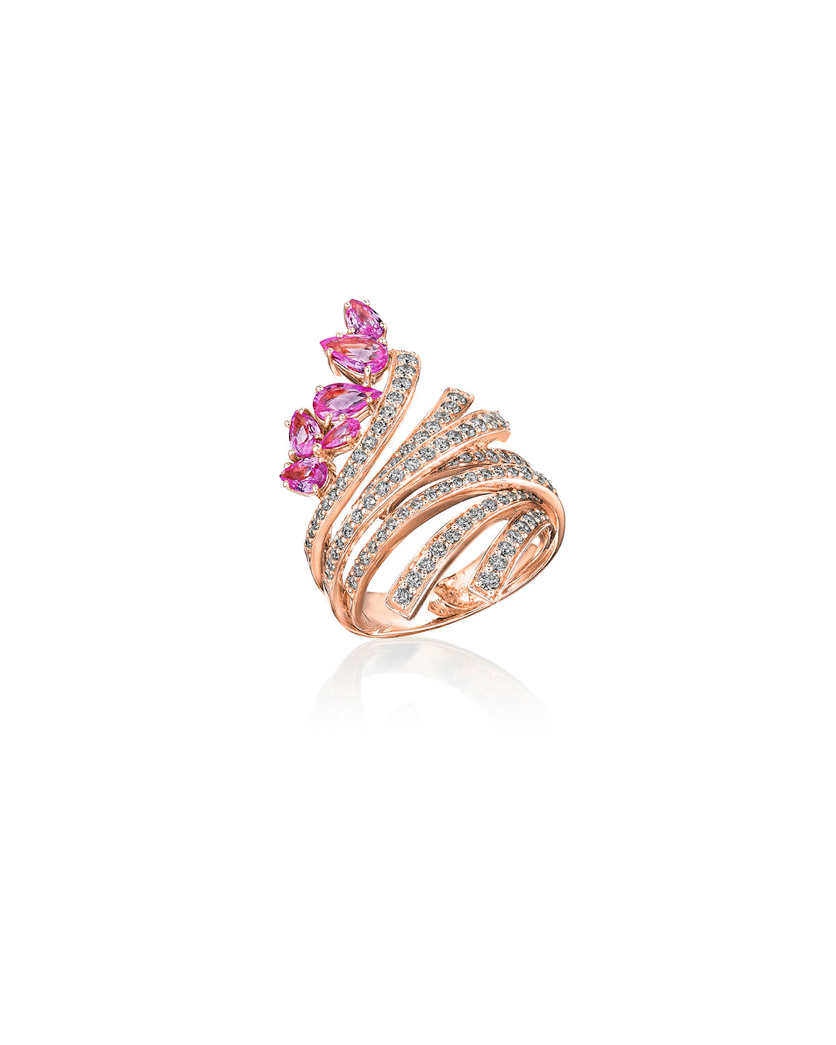 Mirage 18k Pink Gold Pink Sapphire and Diamond Ring