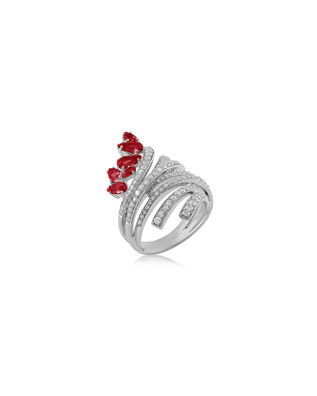Mirage 18k White Gold Ruby and Diamond Ring