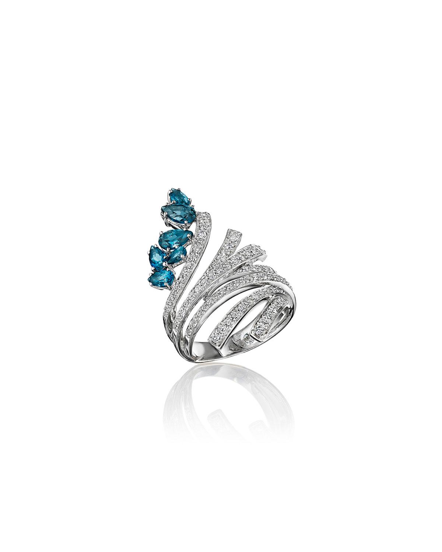 Mirage 18k White Gold Blue Topaz and Diamond Ring